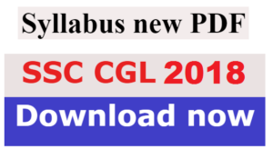 SSC CGL Syllabus 2018 PDF Download