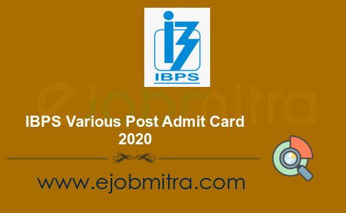 IBPS Various Post Admit Card 2020 – Professor, Research Associate & Other