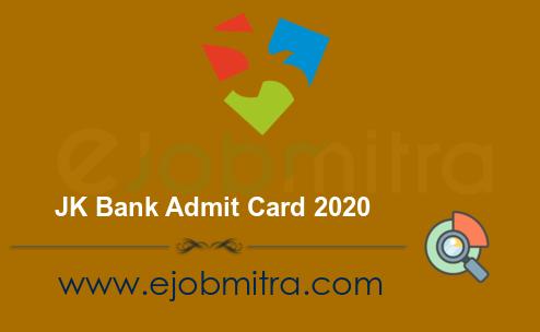 JK Bank Admit Card 2020