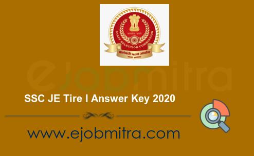 SSC JE Tire I Answer Key 2020