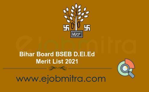 Bihar Board BSEB D.El.Ed Merit List 2021