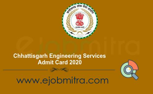 Chhattisgarh Engineering Services Admit Card 2020