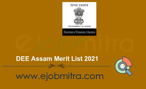 DEE Assam Merit List 2021