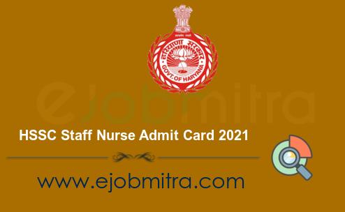 HSSC Staff Nurse Admit Card 2021