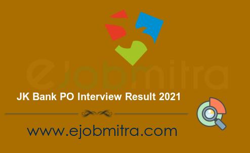 JK Bank PO Interview Result 2021