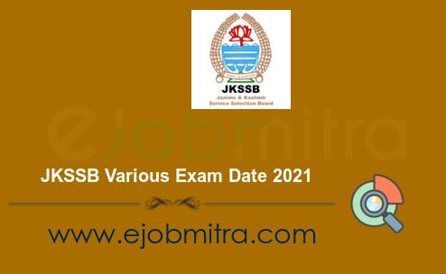 JKSSB Various Exam Date 2021