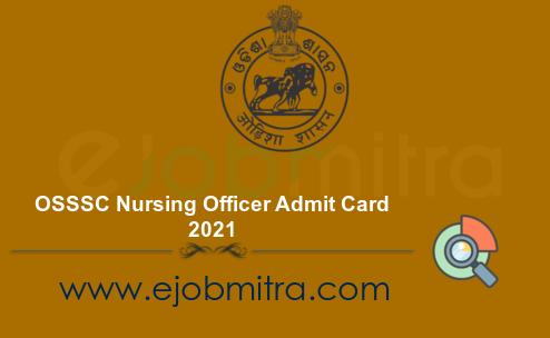 OSSSC Nursing Officer Admit Card 2021