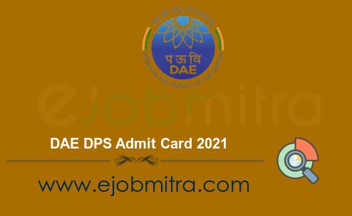 DAE DPS Admit Card 2021