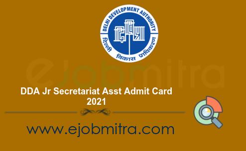 DDA Jr Secretariat Asst Admit Card