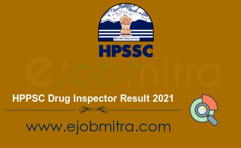 HPPSC Drug Inspector Result 2021