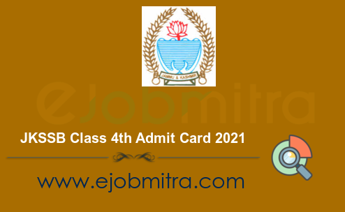JKSSB Class 4th Admit Card 2021