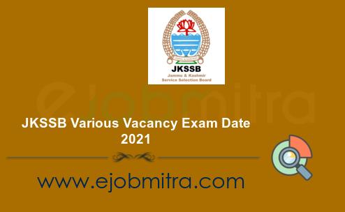 JKSSB Various Vacancy Exam Date 2021