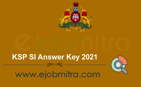 KSP SI Answer Key 2021