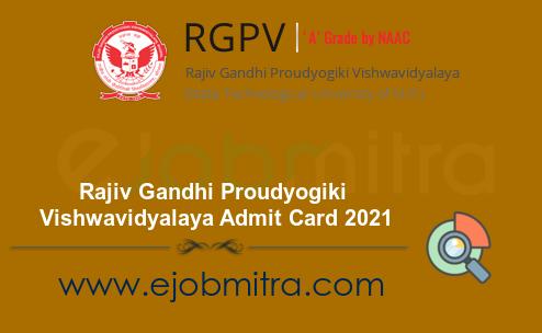 RGPV Admit Card 2021 | Rajiv Gandhi Proudyogiki Vishwavidyalaya Hall Ticket