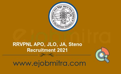 RRVPNL APO, JLO, JA, Steno Recruitment 2021