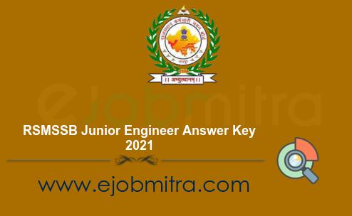 RSMSSB Junior Engineer Answer Key 2021
