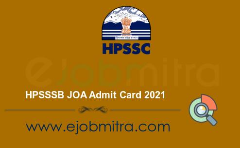 HPSSSB JOA Admit Card 2021