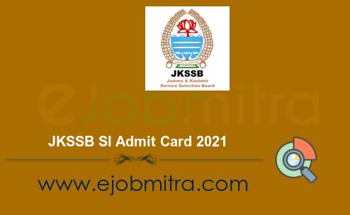 JKSSB SI Admit Card 2021