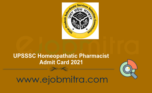 UPSSSC Homeopathatic Pharmacist Admit Card 2021