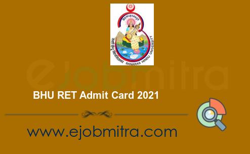 BHU RET Admit Card 2021
