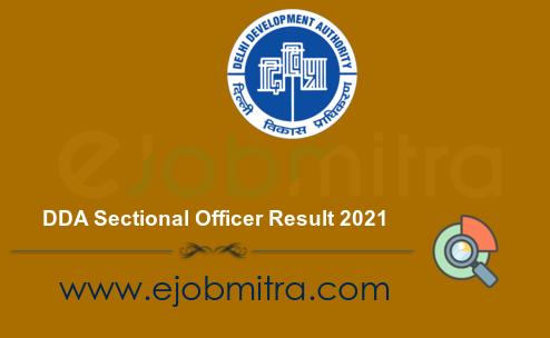 DDA Sectional Officer Result 2021