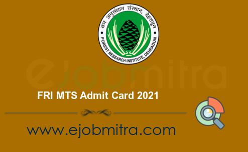 FRI MTS Admit Card 2021