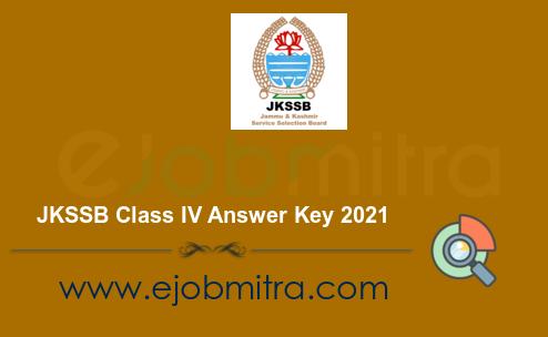 JKSSB Class IV Answer Key 2021