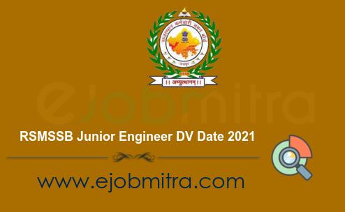 RSMSSB Junior Engineer DV Date 2021
