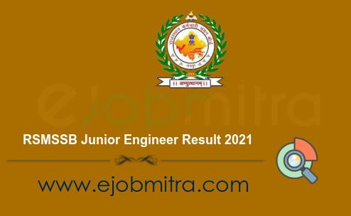 RSMSSB Junior Engineer Result 2021