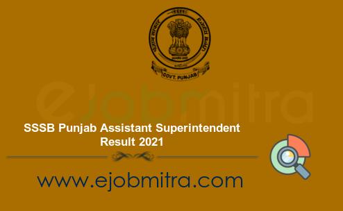 SSSB Punjab Assistant Superintendent Result 2021