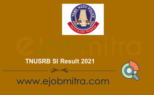 TNUSRB SI Result 2021