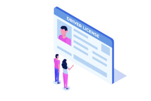 Car driver license, id card icon isometric concept. Vector illustration.